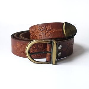 Tooled Leather Cognac Western Belt